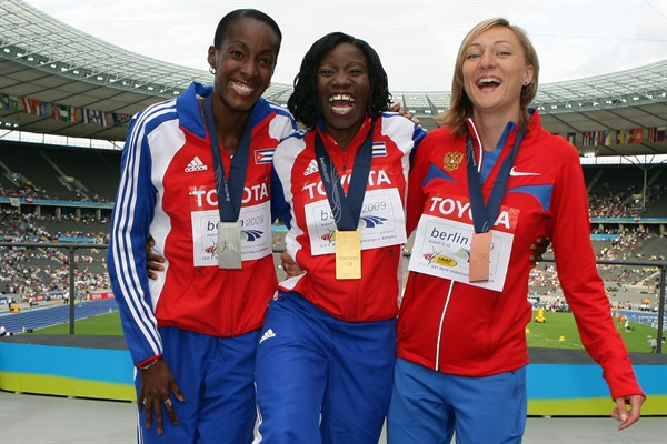 The medallists in the women's Triple Jump (L-R) Mabel Gay of Cuba (silver), Yargeris Savigne of Cuba (gold) and Anna Pyatykh of Russia (bronze) (Getty Images)