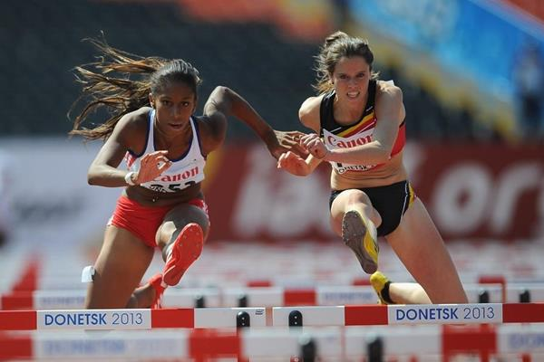 Estephanie Amador in the qualifications of 100mH in Donestk