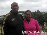 Los campeones mundiales del disco femenino Denia Caballero y Raúl Calderón