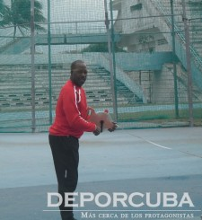 Isbel Luaces entrenando a su discípulo Guillermo Martínez