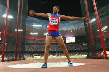 BEIJING, CHINA - AUGUST 25: Denia Caballero of Cuba competes in the Women's Discus final during day four of the 15th IAAF World Athletics Championships Beijing 2015 at Beijing National Stadium on August 25, 2015 in Beijing, China. (Photo by Andy Lyons/Getty Images) *** Local Caption *** Denia Caballero
