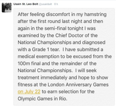 Mensajes compartidos por Usain Bolt en Twitter