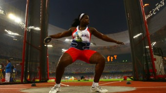 BEIJING - AUGUST 18: Yarelys Barrios of Cuba competes in the Women's Discus Final at the National Stadium on Day 10 of the Beijing 2008 Olympic Games on August 18, 2008 in Beijing, China. (Photo by Stu Forster/Getty Images)