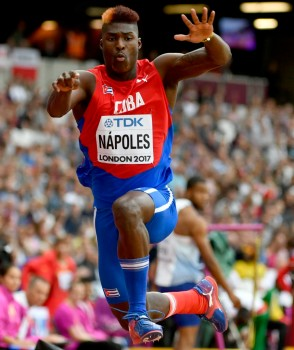 Cristian Napoles of Cuba competes in the men's Triple Jump qualification at the London 2017 IAAF World Championships in London, Britain, 07 August 2017. EPA/FRANCK ROBICHON