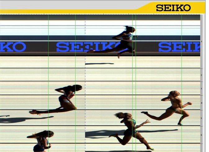 Photo finish heat 4 clasificación 400 para damas - Roxana en el carril 1